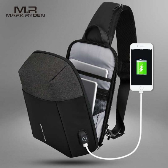 Mark Ryden 2020 Summer Men Crossbody Bag USB Recharging Chest Bag Anti-thief Men Shoulder Bag