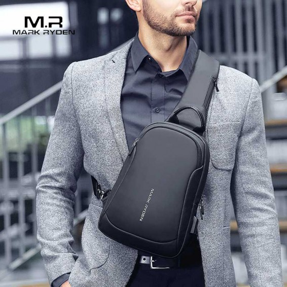 Mark Ryden Multifunction Crossbody Men Bags Waterproof USB Charging Chest Pack Short Trip Messengers Chest Bag Shoulder Bag Male
