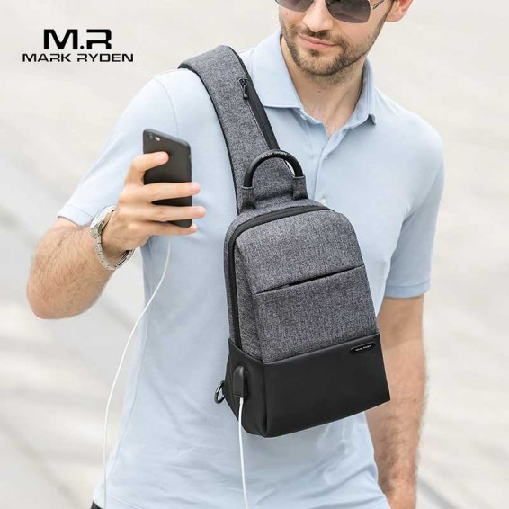 Mark Ryden Multifunction Sling Bag Men Bags Waterproof  Crossbody Bag USB Charging Messengers Chest Bag Shoulder Bag Male
