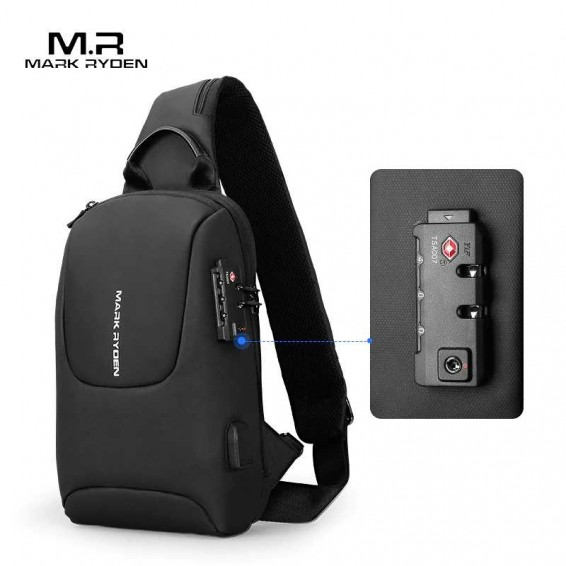 Mark Ryden TSA Lock Crossbody Men Bags Waterproof USB Charging Chest Pack Short Trip Messengers Chest Bag Shoulder Bag Male