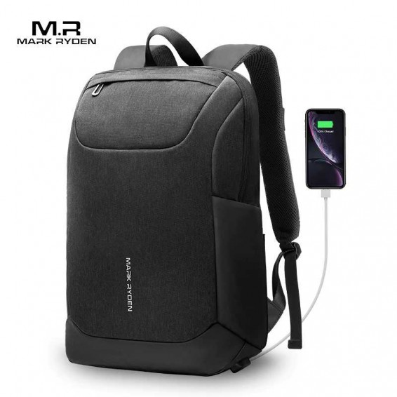 Mark Ryden 2020 New USB Free Charging Men Backpack 15.6 Inch Laptop Bag Two Side Pocket Water Resistant Men Backpack